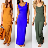 Sexy Women Sleeveless Summer Scoop Neck Bodycon Party Long Maxi Dress