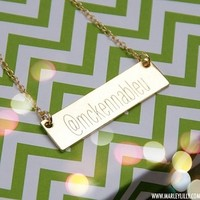 Monogrammed Golden Name Plate Necklace | Accessories | Marley Lilly