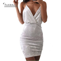 Elegant Spaghetti Strap Lace Bodycon Dress 2017 New Year White Formal Sexy Velvet Dress Women Winter Party Night Wear