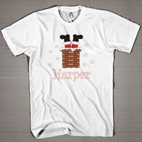 Personalized SANTA Stuck in the Chimney  Mens and Women T-Shirt Available Color Black And White