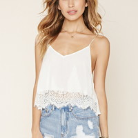 Lace-Paneled Cropped Cami