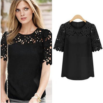 Short Sleeve Lace Embroidered Chiffon Blouse