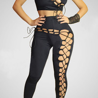 Black Sleeveless Lace-up Cutout Bodycon Cropped Top with Pants Set