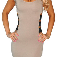 With Lust (Beige)-Great Glam is the web's top online shop for trendy clubbin styles, fashionable party dress and bar wear, super hot clubbing clothing, stylish going out shirt, partying clothes, super cute and sexy club fashions, halter and tube tops, bel