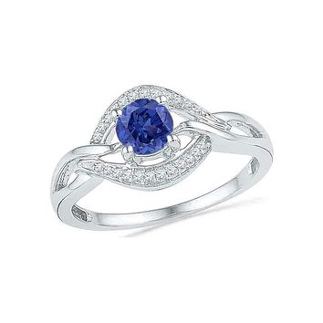 10kt White Gold Women's Round Lab-Created Blue Sapphire Solitaire Woven Ring 5/8 Cttw - FREE Shipping (US/CAN)