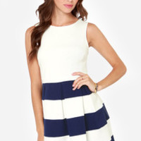 Theme Song Navy Blue and Ivory Dress