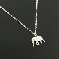 Tiny Elephant Necklace. Lucky Elephant Necklace.Good Luck Charm. Sterling Silver Simple Necklace.Pendant. Lucky Charm Gift.Everyday Necklace