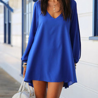 Blue V-Neck Long Sleeve Chiffon Shift Dress