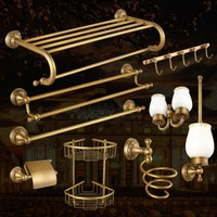Antique Bronze Brass Carved Bathroom Accessories Brushed Bathroom Products Solid Brass Bath Hardware Sets issue low custom value