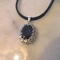 Sterling silver sapphire cubic zirconia suede leather choker necklace pendant repurposed goth vintage.