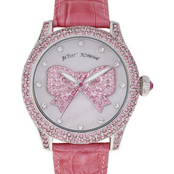Betsey Johnson Watch, Women's Breast Cancer Awareness Pink Leather