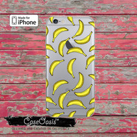 Yellow Banana Pattern Pop Art Cute Fruit Clear Phone Case For iPhone 6, iPhone 6 Plus +, iPhone 6s, iPhone 6s Plus +, iPhone 5/5s, iPhone 5c