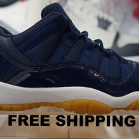 [FREE SHIPPING] Nike Air Jordan 11 XI Low Retro Navy Gum Grade School 528896-405 Basketball Sneaker  AJ11