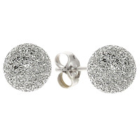 Round Laser Cut Ball Stud Earrings High Polish Sparkle 925 Sterling Silver