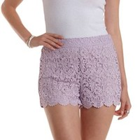 Lavender Crochet High-Waisted Shorts by Charlotte Russe