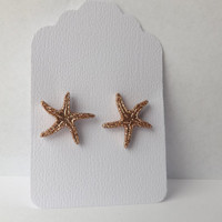 After Christmas SALE Gold Sparkle Starfish Earrings Nautical Shiny Seashell Earrings Valentine's Day Gift Nautical Collection