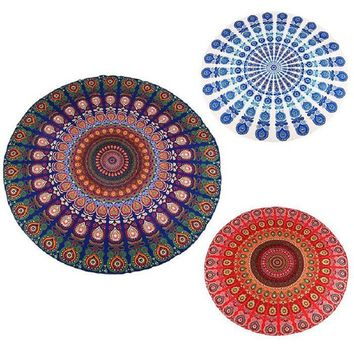 2016 Hot Indian Mandala Tapestry Peacock Printed Boho Bohemian Beach Towel Yoga Mat Sunblock Round Bikini Cover-Up Blanket Throw