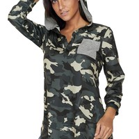 Camouflage Print Button V Neck Hoodie