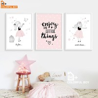 COLORFULBOY Girl Enjoy Dream Quote Wall Art Print Canvas Painting Nordic Poster Cartoon Canvas Art Wall Pictures Kids Room Decor
