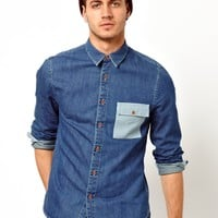 ASOS | ASOS Denim Shirt in Long Sleeve with Contrast Panels at ASOS