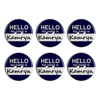 Kamryn Hello My Name Is Plastic Resin Button Set of 6