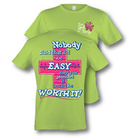 Itsa girl Thing Funny Cross Nobody Said it Would be Easy Nurse Doctor EMT Medical Bright Girlie T-Shirt