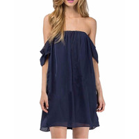 *online exclusive* off the shoulder chiffon dress