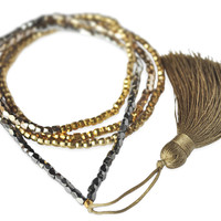 Gold Fade Tassel Necklace