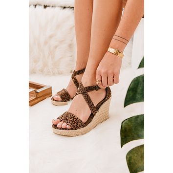 As You Please Leopard Wedges (Tan)