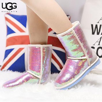 UGG New fashion sequin keep warm boost shoes women Pink