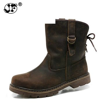 39-44 Genuine Leather Men Boots Vintage Motorcycle Boots Men Brown High Quality Safety Shoes 258