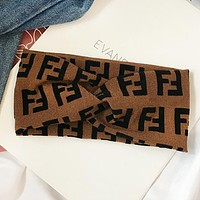 Fendi Fashion New More Letter Women Men Sports Leisure Cross Headband Coffee
