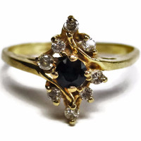 Dainty Vintage 14K .10 Carat Sapphire and .24 Carat Diamond Ring Size 6