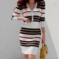 New 2 Piece Suit Ladies Knitting Striped Long Sleeve V Neck Tops and Mini Skirt Sexy Set for Women Clothing
