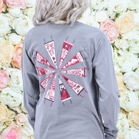 Arkansas Vintage Hog Pennant Long Sleeve Tee {Grey}