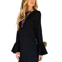 Solid Flare Sleeve Black Lace Up Deep V-Neck Full Sleeve Mini Sexy Fashion Dress 2016 Autumn New Fashion Sexy Arrival Hot Dress
