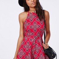 Missguided - Paisley Print Hankerchief Hem Playsuit Red