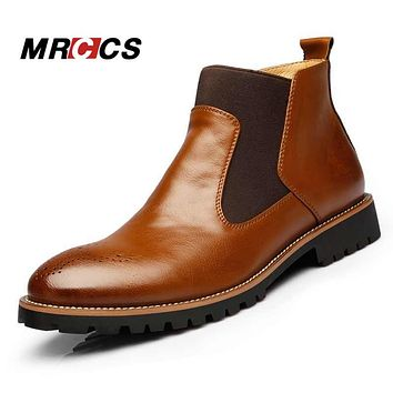 MRCCS Spring/Autumn Fashion Men's Chelsea Boots,British Style Fashion Ankle Boots,Black/Red Bullock Leather Casual Shoe