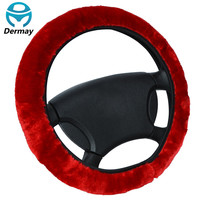 "DERMAY Brand High Quality Soft FUR STEERING WHEEL COVER Winter For Car Steering-wheel 14-15"" 95% Cars Black Red Brown Beige Grey"