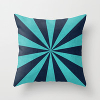 Aqua and Navy Starburst Throw Pillow - Geometric Pillow - Modern Decor - Throw Pillow - Urban Decor - by Beverly LeFevre
