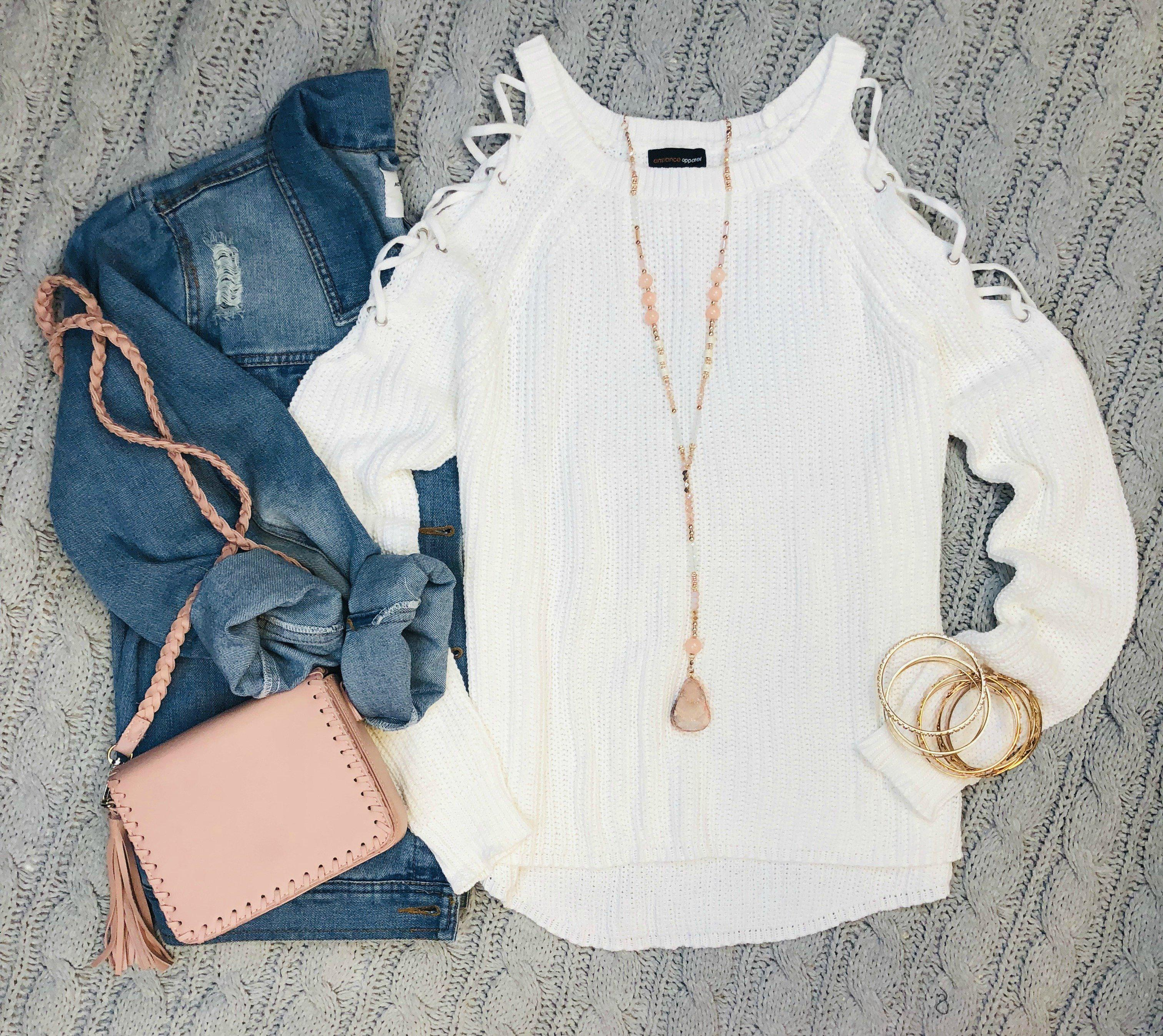 Image of Give me the Scoop Caged Cold Shoulder Top: White