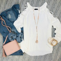 Give me the Scoop Caged Cold Shoulder Top: White