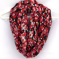 Polka Dot Infinity Scarf. Red Circle Scarf. Women Accessory.