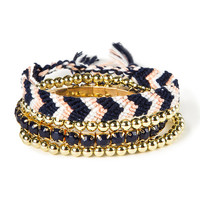 Pink with Navy Chevron, Crystals and Gold Beads Friendship and Stretch Bracelets Set of 4