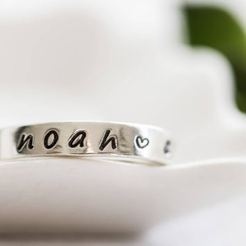 Sterling Silver Rings Women, Mothers Ring, Stackable Name Rings