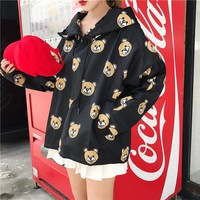 """Moschino"" Women Sport Casual Cute Bear Cartoon Print Loose Long Sleeve Hooded Windbreaker Sweater Tops"