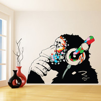 Banksy Vinyl Wall Decal Monkey With Headphones / Chimp Listening to the Music in Earphones / Street Graffiti Art  Sticker + Free Decal Gift!