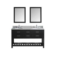Virtu USA Caroline Estate 60.8 in. Double Vanity in Espresso with Marble Vanity Top in Italian Carrara White and Mirror MD-2260-WMRO-ES at The Home Depot - Mobile