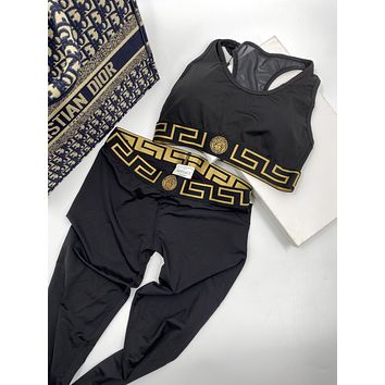 Versace simple women's wild sports breathable bra trousers two-piece suit