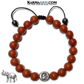 GET LUCKY | Red Jasper | Elephant Pull-Tie Adjustable Bracelet